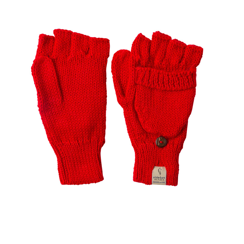 Alpaca Mittens - Red