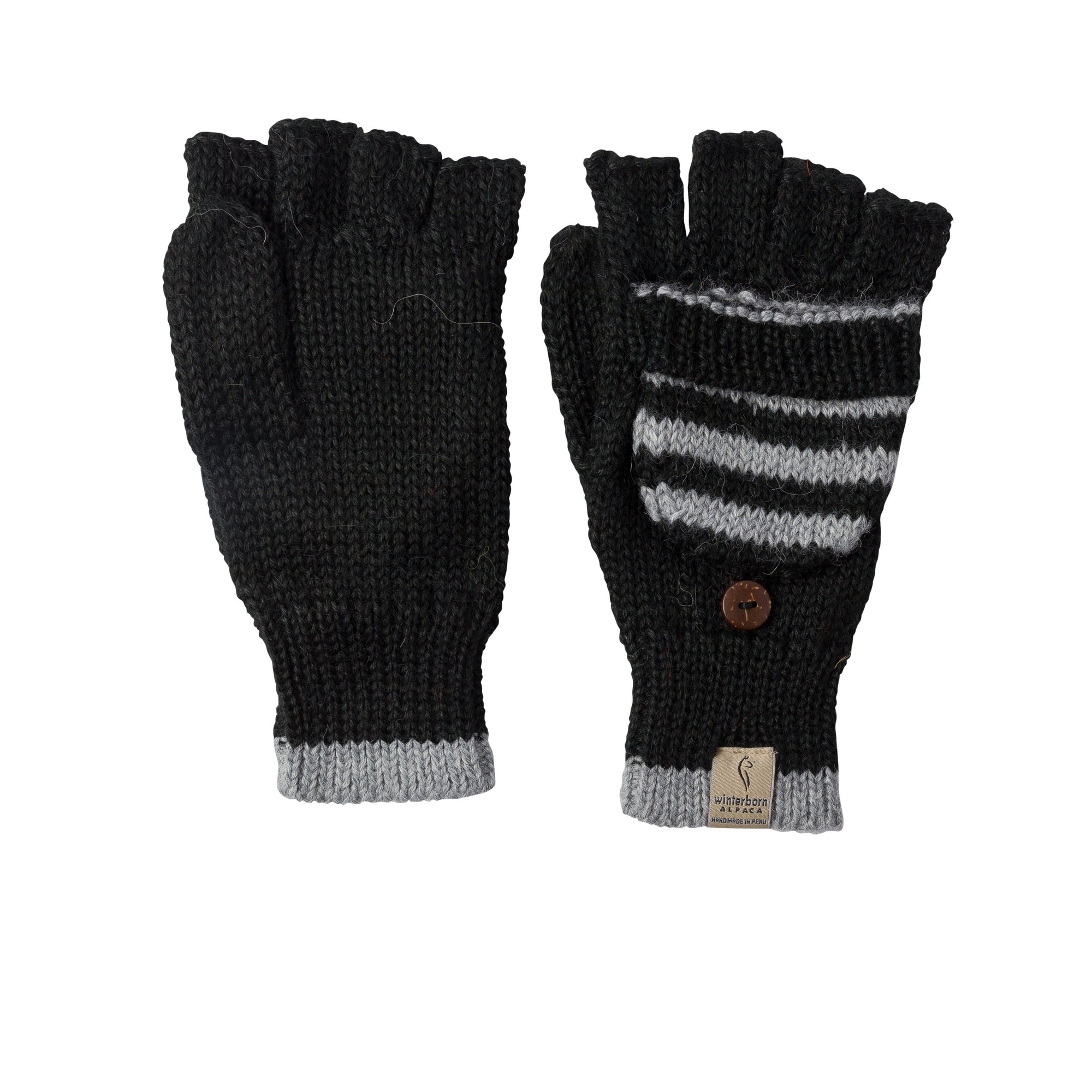Alpaca Black w/ Grey Accent Mittens