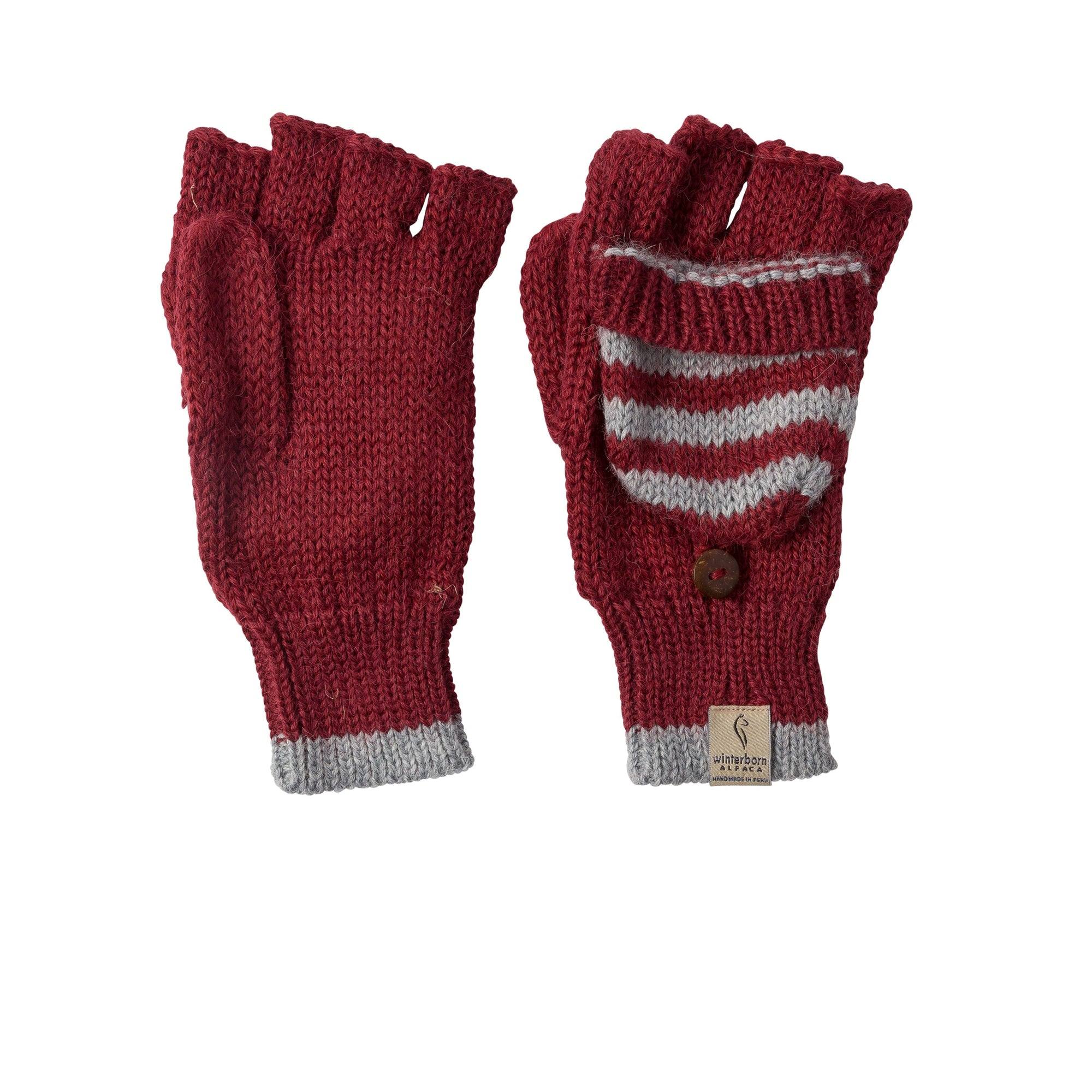 Alpaca Red w/ Grey Accent Mittens