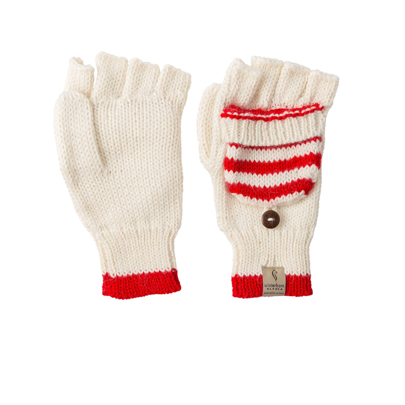 Alpaca White w/ Bright Red Accent Mittens