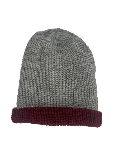Alpaca Reversible Beanie Red Grey