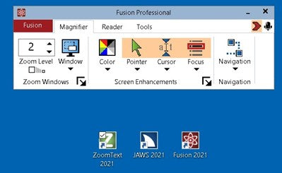 Image of Fusion screen as seen on a computer