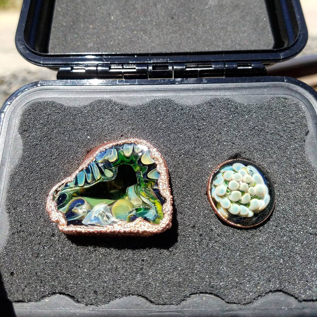 Copper crusted geode and marble set
