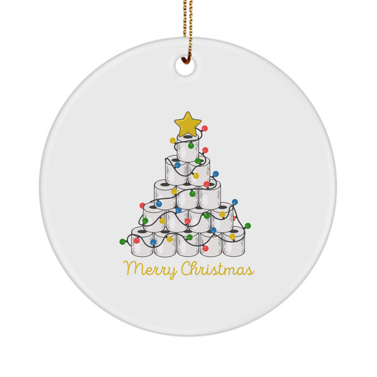 Merry Christmas Toilet Paper Tree - Ornament