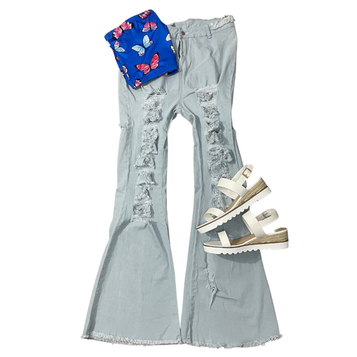 Distressed Bell Bottoms- Blue - Envisione Her LLC