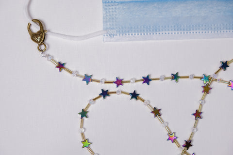 Rainbow Stars Mask Necklace Chain