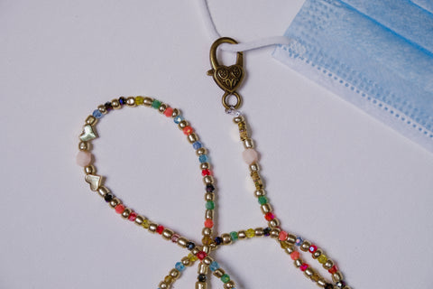 Rainbow Swarovski Crystals with Gold Heart Accents Mask Necklace Chain