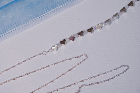 Swarovski Crystals with Silver Plated Heart Accent Beads, Silver Mask Necklace Chain