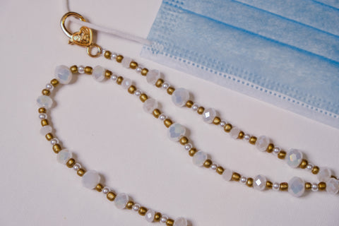 Swarovski Crystals with Pearls Mask Necklace Chain