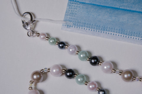 Pearl-like Beads with Silver Accents and Swarovski Crystals Mask Necklace Chain