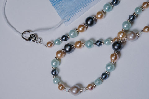 Pearl-like Bead with Silver and Swarovski Crystal Accents Mask Necklace Chain