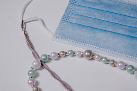 Light Blue and White Pearl with Grey Suede Like Braided Chain Mask Necklace