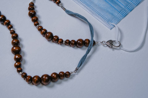 Blue suede-like braid with Wooden Beads Mask Chain