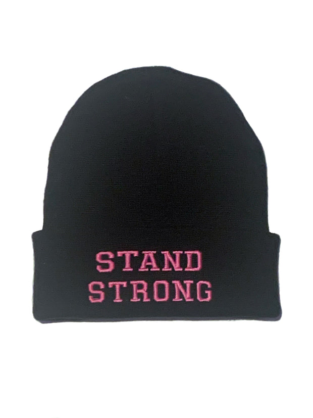 Stand Strong beanie (black & pink)