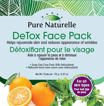 Reduces hyper-pigmentation, dark spots, stubborn tan and rejuvenates skin...  Manas Pure Naturelle  100% Natural DeTox Face Pack for all skin types