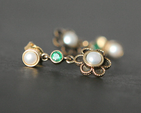 Gold Pearl & Emerald Drop Earrings