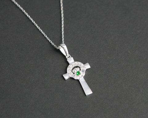 Silver green stone claddagh cross