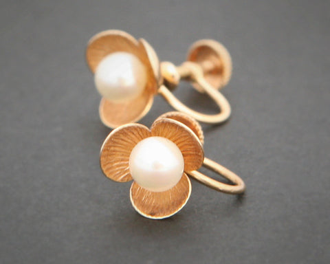 Vintage 14ct pearl screw on earrings