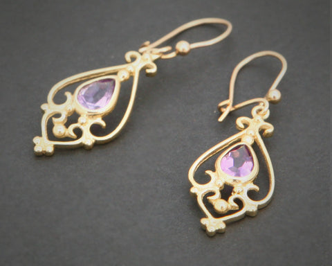 Gold Amethyst Drop Earrings