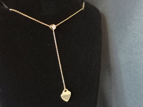 Diamond and heart drop pendant