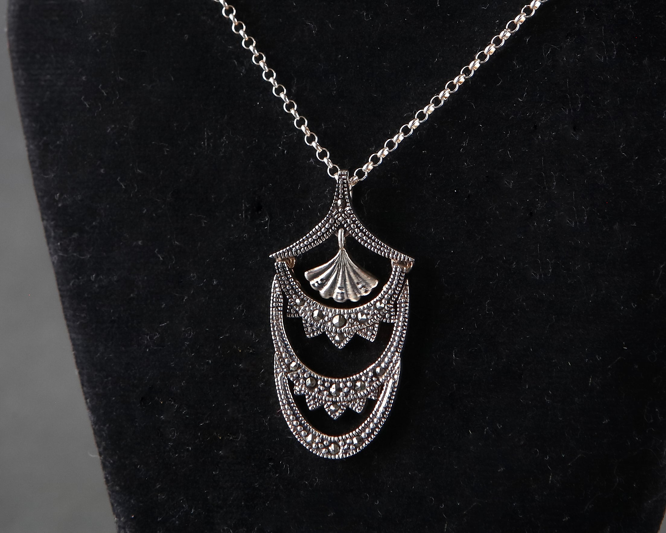 the product marcasite pendant silver grove