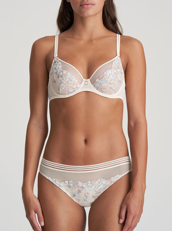 Marie Jo Nathy Rio floral-embroidered stretch-tulle mid-rise briefs in Pearled Ivory