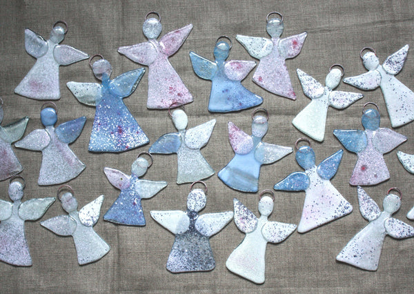 Glass Angel Painted in Soft Pink, Blue and Purple Tones