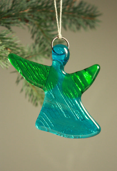 Bright Glass Angel in Blue and Green Tones