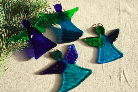 Bright Glass Angel in Green and Dark Blue Tones