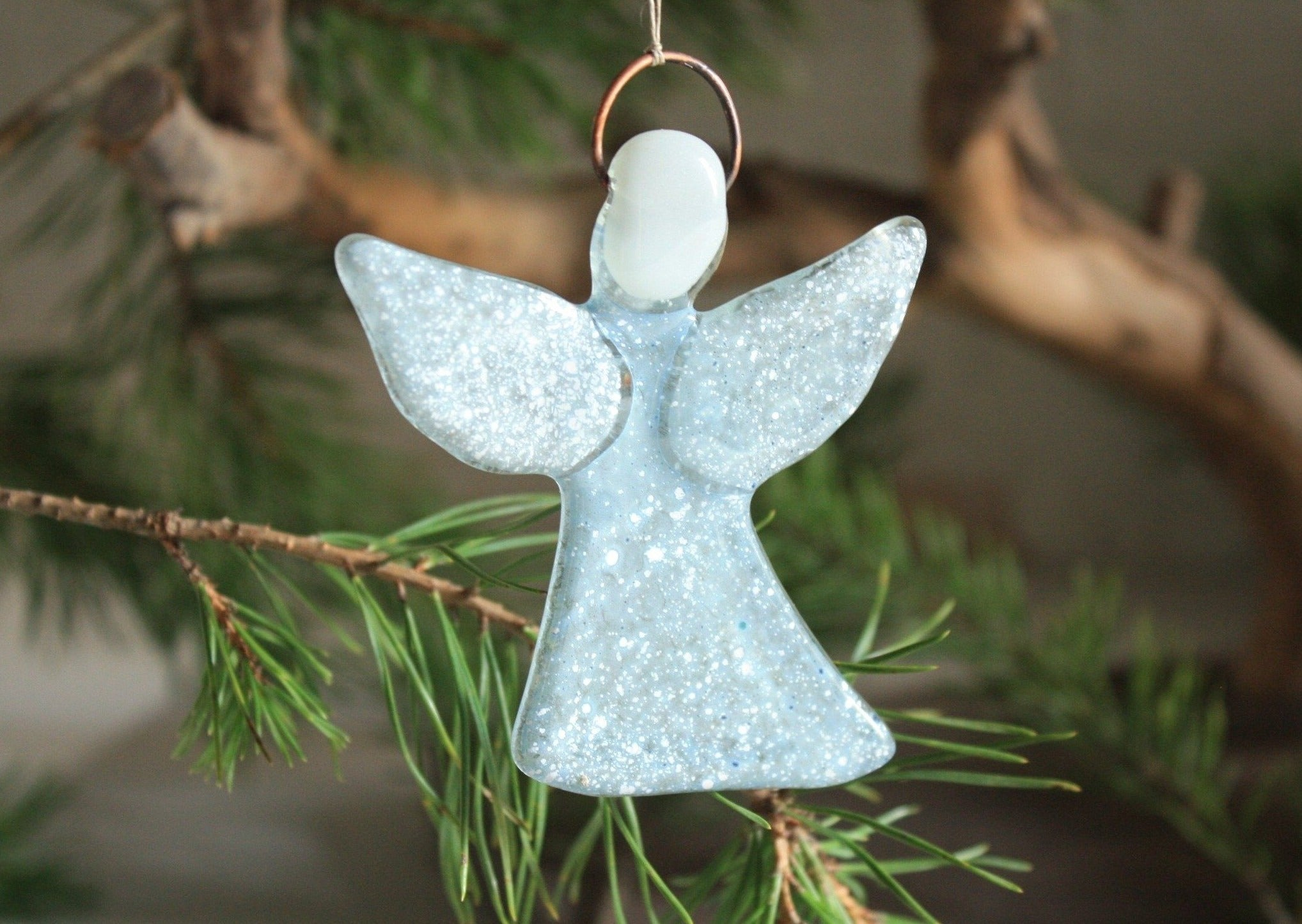 Dusky Glass Angel in White Snow