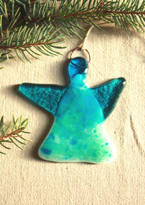 Glass Angel in Saturated Blue and Green Tones