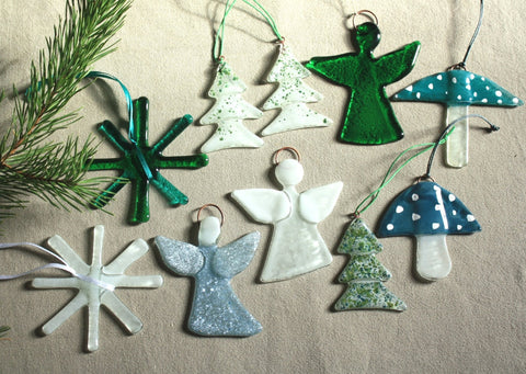 Set of 11 Ornaments in Green and White