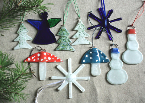Set of 10 Ornaments in Merry Colours