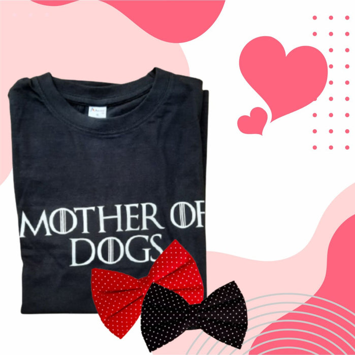 Mother of Dogs T-shirt and Festive Special Bow