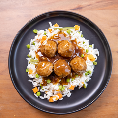 Meatballs with Rice, Vegetables