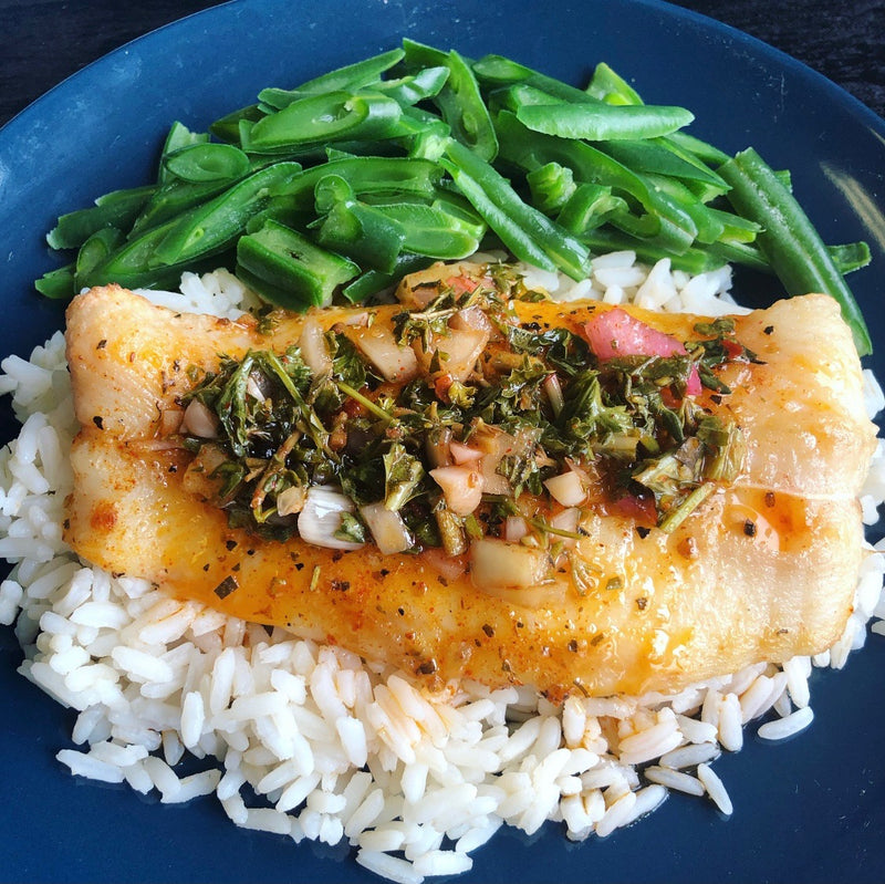 Sea Bass, Rice and Vegetables