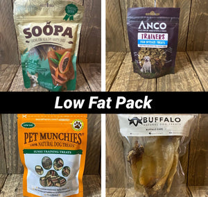 Products included in the low fat pack papaya, anco fish bitesize trainers, pet munchies sushi, buffalo ears
