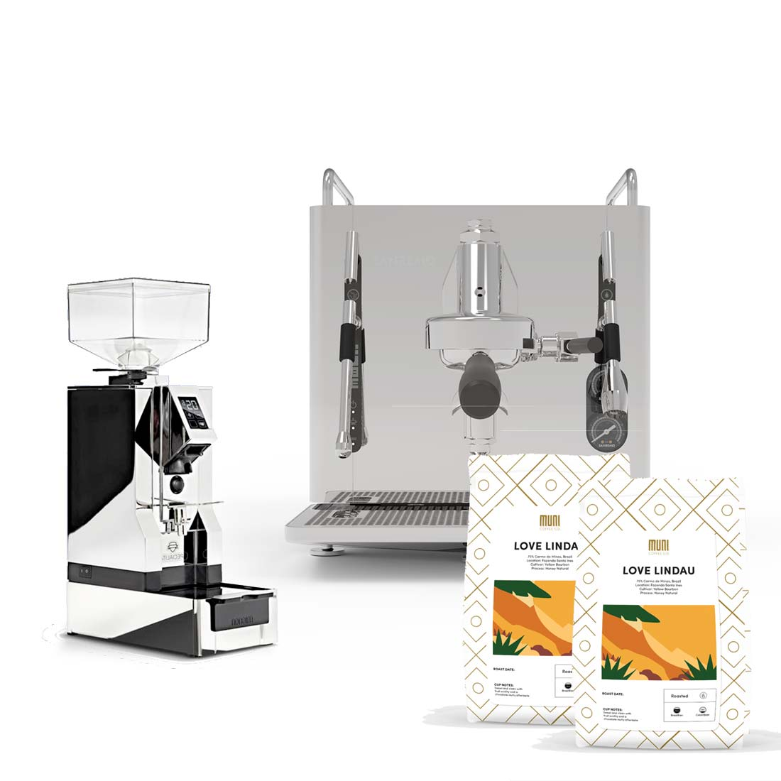Starterset Home Barista: SanRemo Cube + Eureka mignion magnifica + Abschlagbox