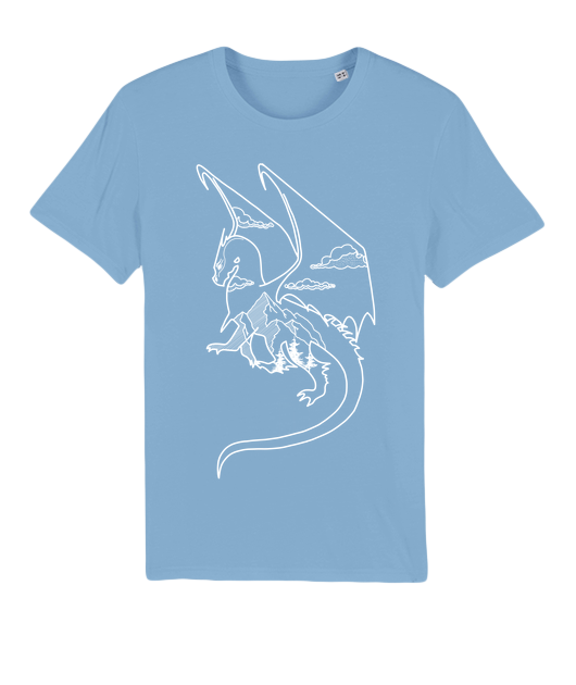 Dragon T-shirt 100% bio Bleu ciel
