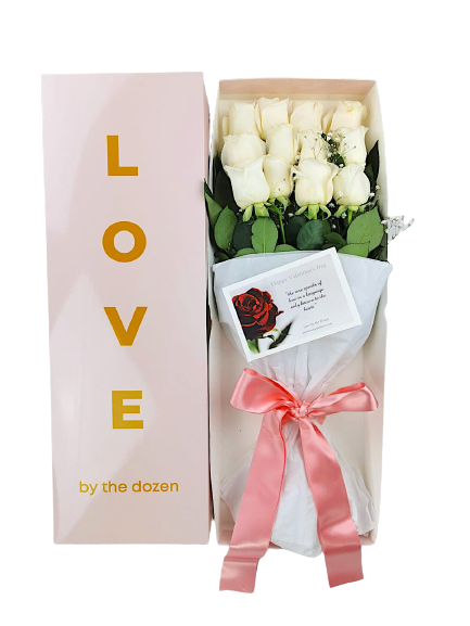 Love By The Dozen Roses White