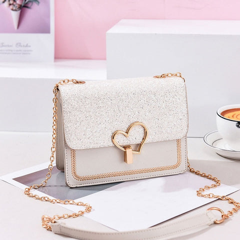 Cute Heart Chain Leather Fashion bag