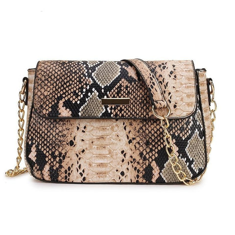 Snake Print Soft Leather Shoulder Bag