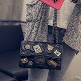 Vintage Pu Leather Chain Crossbody Bag