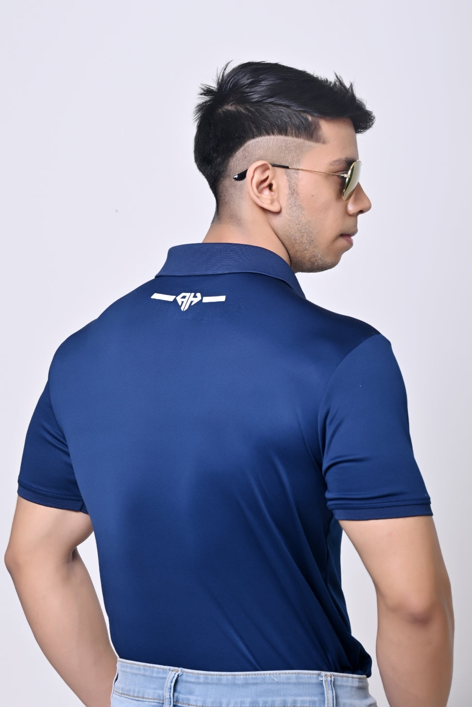 AH MAN - SOLID PERFORMANCE POLO SHIRT BLUE
