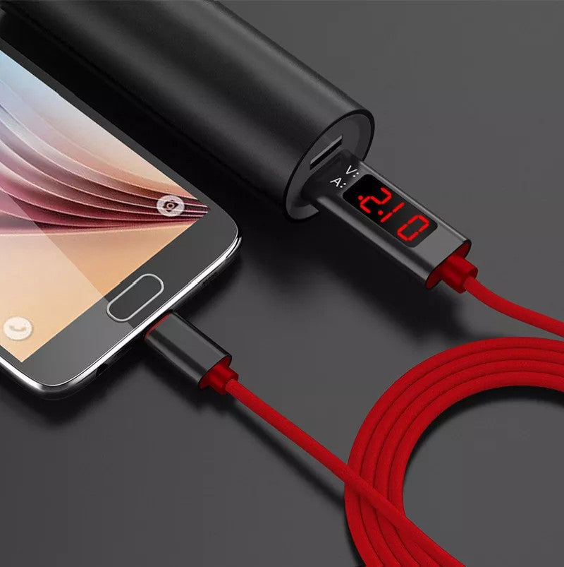 LCD Display 3A Quick Charge Cable 3.0 Micro Type-C Lightning USB Charging Cable