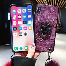 Load image into Gallery viewer, Case Luxury Gold Foil Marble Cover For Iphone Series Glitter Diamond Plush Ball Lanyard Hard Cases Chrismas Gift