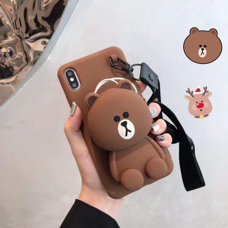 Cartoon All Inclusive Silica Gel Wallet Anti Fall Bracket Shell For Iphonexs Max Xs Xr X 7 8 6 6s Chrismas Gift