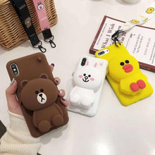 Load image into Gallery viewer, Cartoon All Inclusive Silica Gel Wallet Anti Fall Bracket Shell For Iphonexs Max Xs Xr X 7 8 6 6s Chrismas Gift