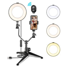 Load image into Gallery viewer, 6 Inch Ring Make Up Light Lamp Bluetooth Phone Bracket Tripod Led Ring Light