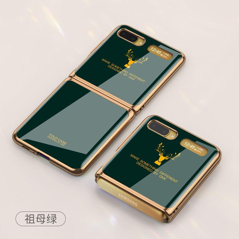 Suitable For Samsung Galaxy Z Flip Folding All-inclusive Mobile Phone Case Creative Electroplated Glass Elk Protective Cover-